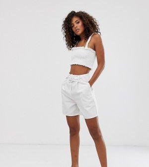 Джинсовые шорты-кюлоты с поясом ASOS DESIGN Tall-Белый Tall