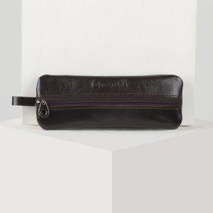 Ключница, длина 17 см, отдел на молнии, металлическое кольцо, цвет коричневый TEXTURA