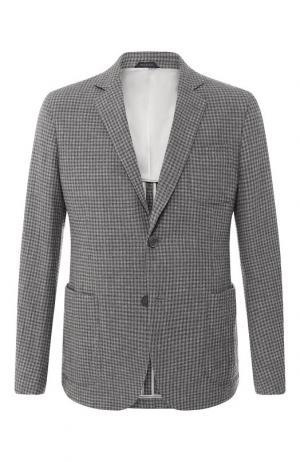 Однобортный пиджак из смеси шерсти и кашемира Giorgio Armani. Цвет: серый