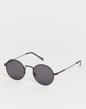 Круглые солнцезащитные очки в черной оправе со шнурком -Черный Bershka