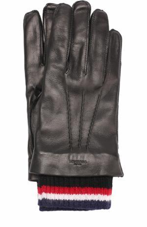 Кожаные перчатки с кашемировой подкладкой Thom Browne. Цвет: черный