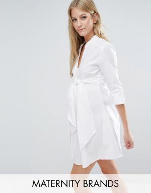 Удлиненное платье‑рубашка с завязкой на талии Isabella Oliver. Цвет: белый