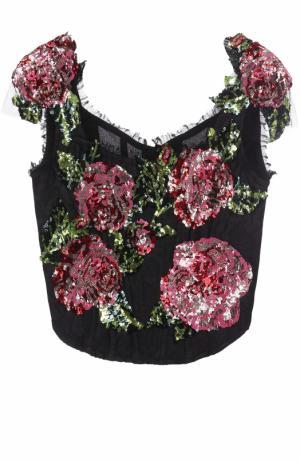 Корсет с цветочной вышивкой пайетками Dolce & Gabbana. Цвет: черный