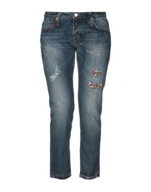 Джинсовые брюки-капри (+) PEOPLE. Цвет: синий