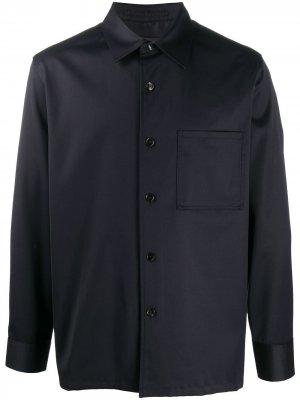 Рубашка с заостренным воротником и длинными рукавами Theory. Цвет: синий