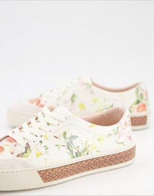 Кроссовки на шнуровке с цветочным принтом Finley-Многоцветный Fiorelli