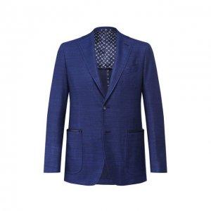 Пиджак из смеси шелка и хлопка Zilli. Цвет: синий