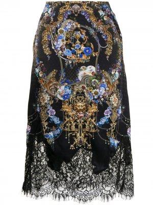 Юбка с кружевом и цветочным принтом Camilla. Цвет: черный