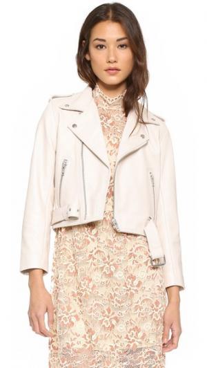 Байкерская кожаная куртка Angela Ganni. Цвет: белый дымчатый