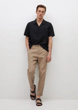 Льняная рубашка regular-fit с короткими рукавами - Lava Mango. Цвет: черный