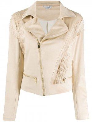 Фактурная байкерская куртка со складками LIU JO. Цвет: нейтральные цвета