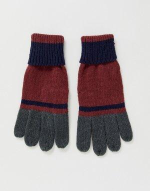 Бордовые перчатки колор блок -Красный Boardmans