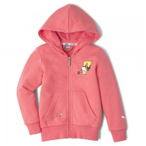 Детская толстовка x PEANUTS Full-Zip Kids Hoodie PUMA. Цвет: розовый