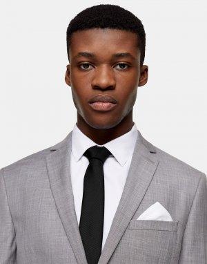 Черный галстук с белым платком для нагрудного кармана -Многоцветный Topman