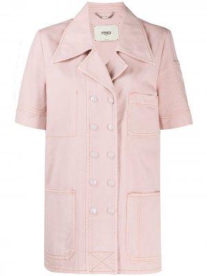 Двубортная джинсовая куртка Fendi. Цвет: розовый