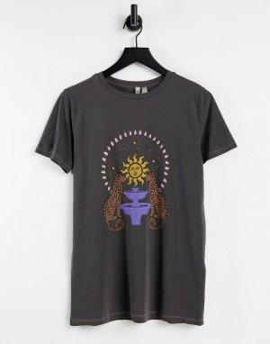 Темно-серая выбеленная футболка свободного кроя с принтом в виде открытки -Серый ASOS DESIGN