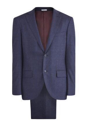 Костюм из шерстяной ткани с мягкой линией плеч в неаполитанском стиле LUCIANO BARBERA. Цвет: синий