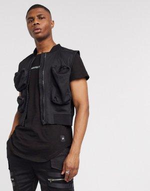 Черный жилет с карманами в стиле милитари -Черный цвет Sixth June