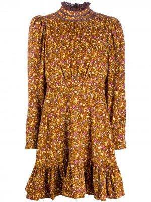 Платье с цветочным принтом и пышными рукавами byTiMo. Цвет: коричневый