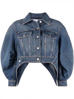 Джинсовая куртка с пышными рукавами Alexander McQueen. Цвет: синий