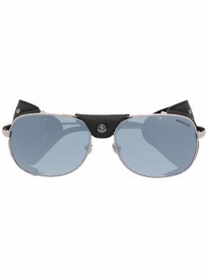 Солнцезащитные очки-авиаторы Luminova Moncler Eyewear. Цвет: серебристый