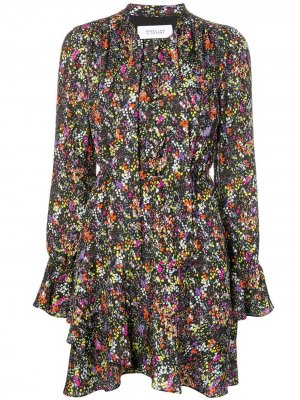 Платье с длинными рукавами и цветочным принтом Derek Lam 10 Crosby. Цвет: черный