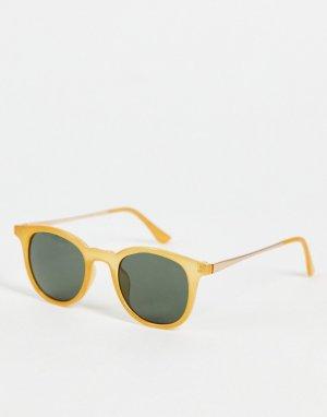 Круглые солнцезащитные очки в стиле унисекс желтой оправе -Желтый AJ Morgan