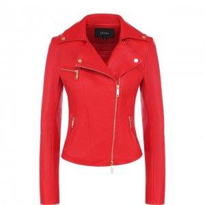 Приталенная кожаная куртка с косой молнией Jitrois. Цвет: красный