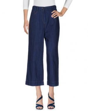 Джинсовые брюки-капри SUOLI. Цвет: синий