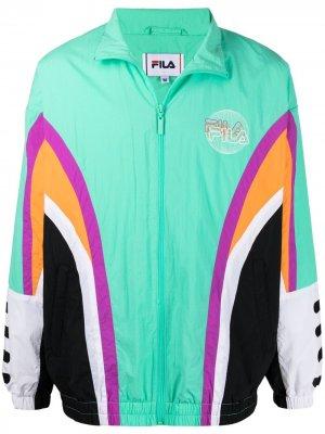 Куртка в стиле колор-блок на молнии Fila. Цвет: зеленый