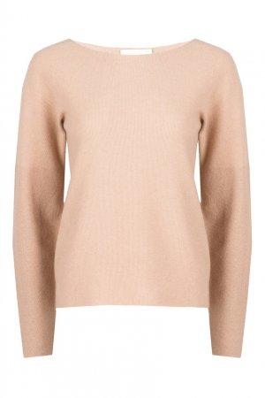 Бежевый шерстяной пуловер с вырезом лодочкой Fabiana Filippi. Цвет: бежевый