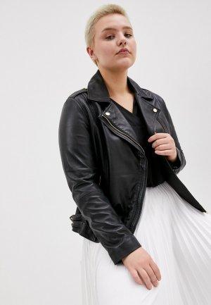 Куртка кожаная Le Monique PA6583LS9. Цвет: черный