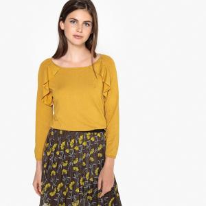 Пуловер с круглым вырезом и воланами LPB WOMAN. Цвет: охра,черный