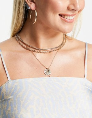 Ярусное золотистое ожерелье с подвеской-крестиком Inspired-Золотистый Reclaimed Vintage