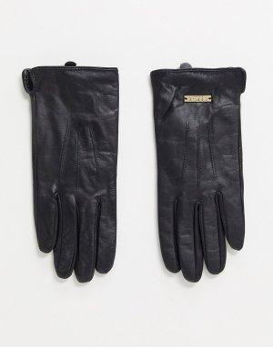 Черные кожаные перчатки -Черный Lipsy