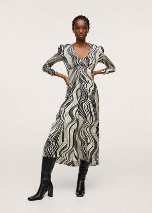 Миди-платье с принтом - Floki Mango. Цвет: черный