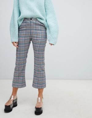 Расклешенные брюки в клетку с бантами на карманах -Серый Lazy Oaf