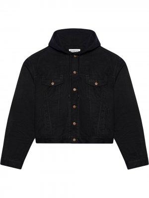 Джинсовая куртка на пуговицах с капюшоном Balenciaga. Цвет: черный