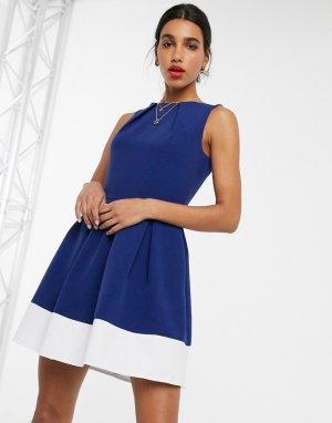 Синее короткое приталенное платье в стиле колор блок Closet-Синий Closet London