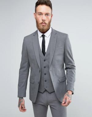 Серый узкий пиджак New Look