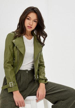 Куртка кожаная Izabella. Цвет: хаки