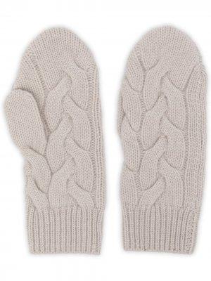 Кашемировые перчатки-митенки фактурной вязки N.Peal. Цвет: белый