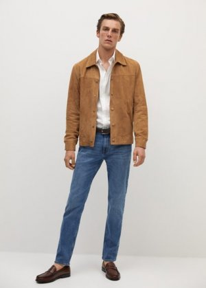 Кожаная куртка с карманами - Bone-i Mango. Цвет: бежевый