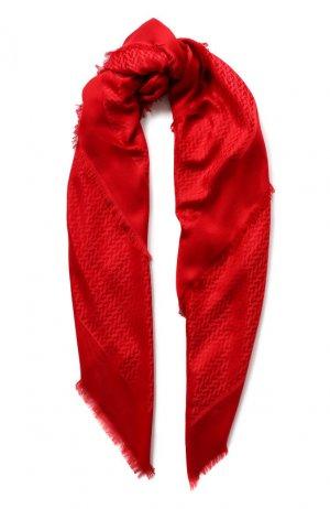 Платок из смеси шелка и шерсти Garavani Valentino. Цвет: красный