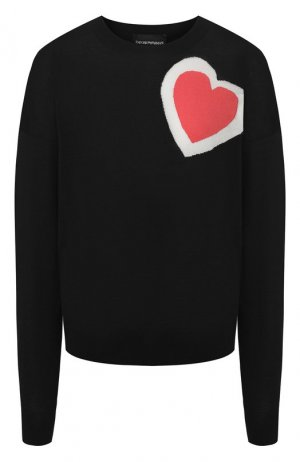 Пуловер с сердцем Emporio Armani. Цвет: черный