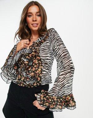 Блузка с оборками, завязкой спереди и комбинированным принтом -Разноцветный ASOS DESIGN