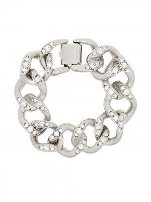 Цепочный браслет с кристаллами Kenneth Jay Lane. Цвет: серебристый