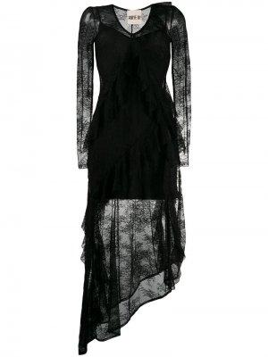 Кружевное платье с асимметричным подолом ANIYE BY. Цвет: черный