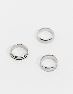 Набор из 3 широких серебристых колец нержавеющей стали -Серебристый ASOS DESIGN