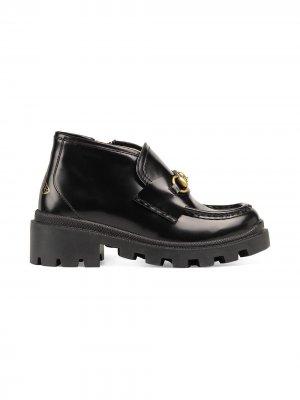 Ботинки с декором Horsebit Gucci Kids. Цвет: черный